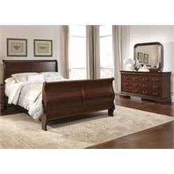 Carriage Court 3 Piece Sleigh Bedroom Set in Mahogany Stain DM