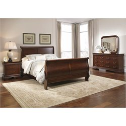 Carriage Court 4 Piece Sleigh Bedroom Set in Mahogany Stain DMN