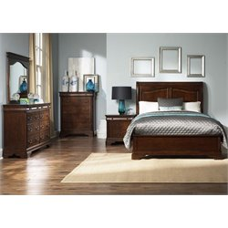 Alexandria 5 Piece Sleigh Bedroom Set in Autumn Brown DMCN