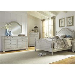 Harbor View III 4 Piece Poster Bedroom Set in Dove Gray DMC