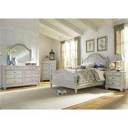 Harbor View III 5 Piece Poster Bedroom Set in Dove Gray DMCN
