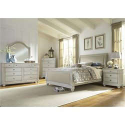 Harbor View III 5 Piece Sleigh Bedroom Set in Dove Gray DMCN