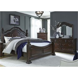 Messina Estates 4 Piece Poster Bedroom Set in Cognac DMC