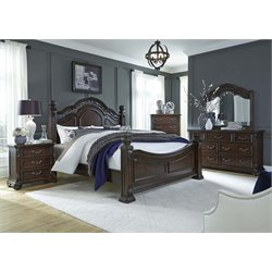 Messina Estates 5 Piece Poster Bedroom Set in Cognac DMCN