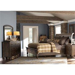 Southern Pines 4 Piece Sleigh Storage Bedroom Set in Bark DMN