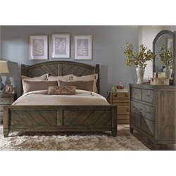 Modern Country 3 Piece Poster Bedroom Set in Harvest Brown DM