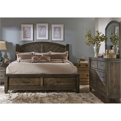 Modern Country 3 Piece Poster Storage Bedroom Set in Harvest Brown DM