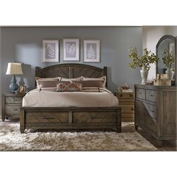 Modern Country 4 Piece Poster Storage Bedroom Set in Harvest Brown DMN