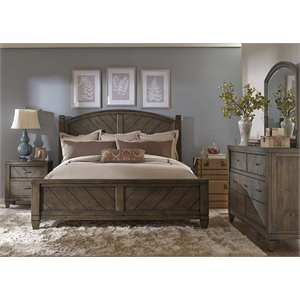 Modern Country 4 Piece Poster Bedroom Set in Harvest Brown DMN