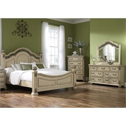 Messina Estates 4 Piece Poster Bedroom Set in Antique Ivory