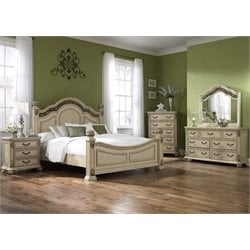 Messina Estates 5 Piece Poster Bedroom Set in Antique Ivory