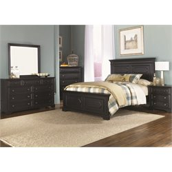 Carrington II 5 Piece Panel Bedroom Set in Black DMCN