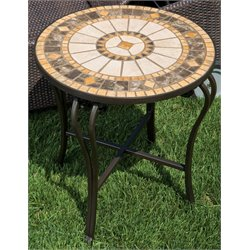 Alfresco Home Compass Round Marble Mosaic Top Patio End Table
