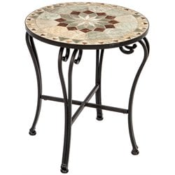 Alfresco Home Notre Round Marble Mosaic Top Patio End Table