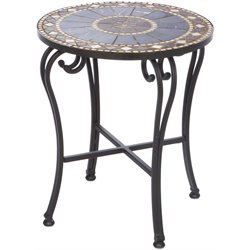 Alfresco Home Galileo Round Marble Mosaic Top Patio End Table