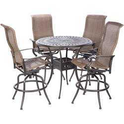 Alfresco Home Naples 5 Piece Wicker Patio Pub Set in Antique Bronze