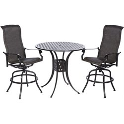 Alfresco Home Barbados 3 Piece Patio Pub Set in Antique Fern