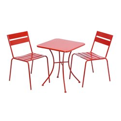 Alfresco Home Riposo 3 Piece Patio Bistro Set in Red