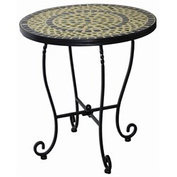 Alfresco Home Shannon Round Ceramic Mosaic Top Patio End Table