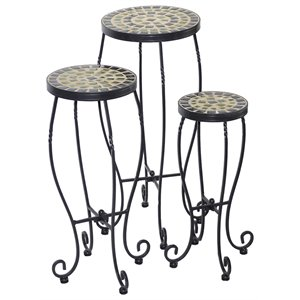 Alfresco Home Shannon 3 Piece Round Plant Stand Set