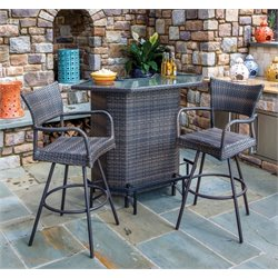 Alfresco Home Tutto 3 Piece Wicker Patio Bar Set in Double Mocha