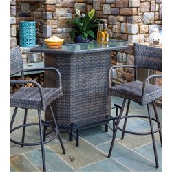 Alfresco Home Tutto Wicker Patio Bar in Double Mocha