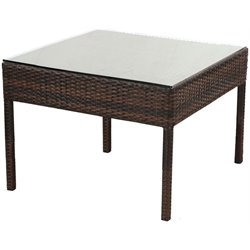 Alfresco Home Logan Wicker Patio End Table in Tostado