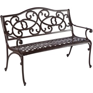 Alfresco Home Wisteria Patio Bench in Brown Sugar