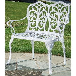 Alfresco Home Celine Patio Bench in White