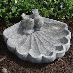 Alfresco Home Sparrow on Shell Bird Bath