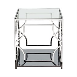 Diamond Sofa Avalon Glass Top End Table in Stainless Steel