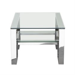 Diamond Sofa Carlsbad 1 Shelf Glass Top End Table in Stainless Steel