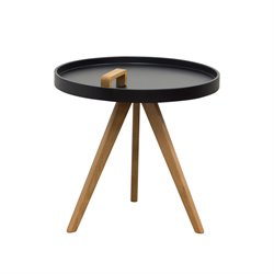 Diamond Sofa Mobi Round End Table with Designer Handle in Black