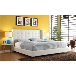 Diamond Sofa Madison Faux Leather Upholstered Queen Low Profile Bed
