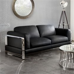 Diamond Sofa Annika Faux Leather Sofa in Black