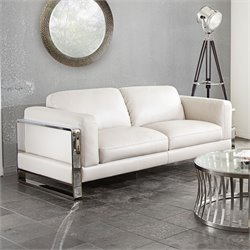 Diamond Sofa Annika Faux Leather Sofa in Bone