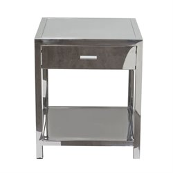 Diamond Sofa Corleo 1 Drawer End Table in Silver