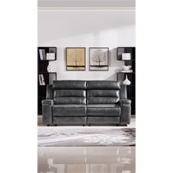 Diamond Sofa Duncan Faux Leather Reclining Sofa in Gray
