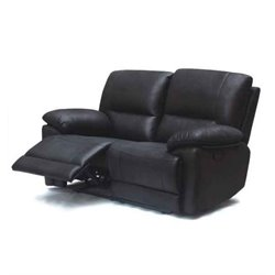 Diamond Sofa Mason Faux Suede Reclining Loveseat in Black