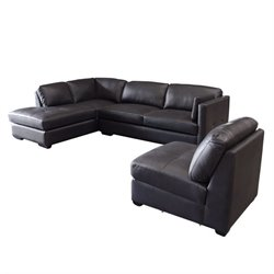 Diamond Sofa Urban Leather 3 Piece Sofa Set in Mocca