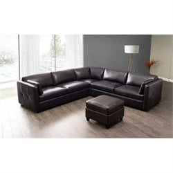 Diamond Sofa Urban Leather 3 Piece Sectional in Mocca