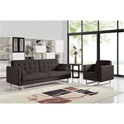 Diamond Sofa Opus 2 Piece Tufted Convertible Sofa Set in Chocolate