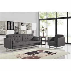Diamond Sofa Opus 2 Piece Tufted Convertible Sofa Set in Gray