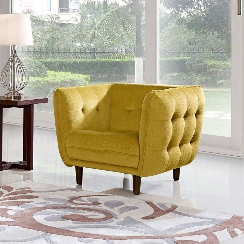 Diamond Sofa Venice Fabric Accent Chair In Yellow Venicechgd