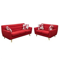 Diamond Sofa Scarlett Fabric 2 Piece Sofa Set in Rouge Red