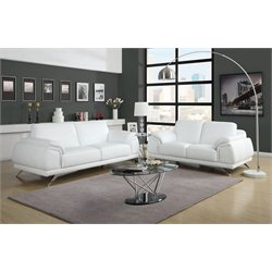 Diamond Sofa Casablanca 2 Piece Leather Sofa Set in White