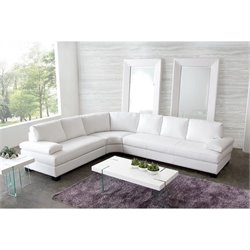 Diamond Sofa Vanity 3 Piece Leather Sectional in White