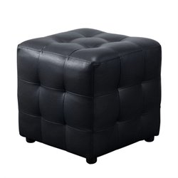 Diamond Sofa Zen Leather Tufted Cube Accent Ottoman in Black
