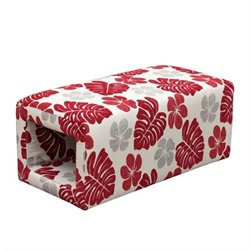 Diamond Sofa Scarlett Patterned Fabric Ottoman in Rouge Floral