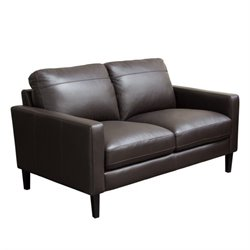 Diamond Sofa Omega Leather Loveseat in Dark Chocolate